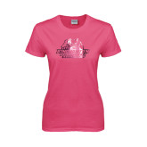 Ladies Fuchsia T Shirt-Binghamton University Bearcats Official Logo - Foil