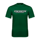 Performance Dark Green Tee-Binghamton University Flat