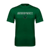 Performance Dark Green Tee-Basketball Stacked Design