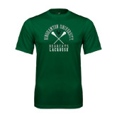 Performance Dark Green Tee-Lacrosse Crossed Sticks Design