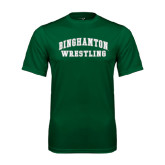 Performance Dark Green Tee-Arched Wrestling Design