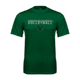 Performance Dark Green Tee-Volleyball Stacked Design
