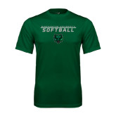 Performance Dark Green Tee-Softball Stacked Design