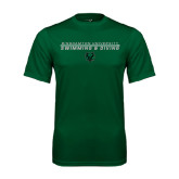 Performance Dark Green Tee-Swim and Dive Stacked Design