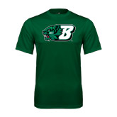 Performance Dark Green Tee-Bearcat Head w/ B