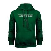 Dark Green Fleece Hood-Lacrosse Stacked Design