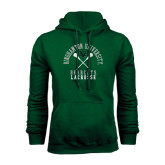 Dark Green Fleece Hood-Lacrosse Crossed Sticks Design