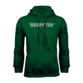 Dark Green Fleece Hood-Wrestling Stacked Design
