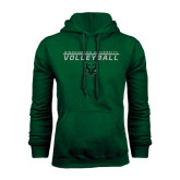 Dark Green Fleece Hood-Volleyball Stacked Design