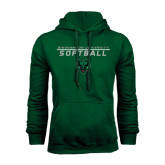 Dark Green Fleece Hood-Softball Stacked Design