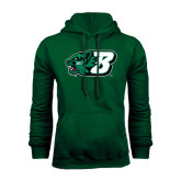 Dark Green Fleece Hood-Bearcat Head w/ B