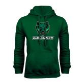 Dark Green Fleece Hood-Bearcat Head w/ Binghamton