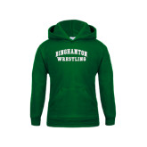 Youth Dark Green Fleece Hoodie-Arched Wrestling Design