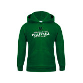 Youth Dark Green Fleece Hoodie-Can You Dig It - Volleyball Design