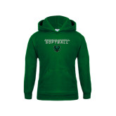 Youth Dark Green Fleece Hood-Softball Stacked Design