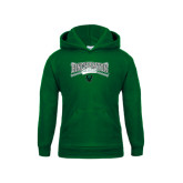 Youth Dark Green Fleece Hood-Softball Crossed Bats Design