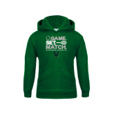 Youth Dark Green Fleece Hoodie-Game Set Match Tennis Design