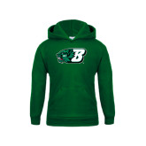 Youth Dark Green Fleece Hoodie-Bearcat Head w/ B