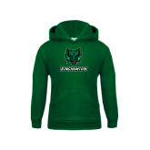 Youth Dark Green Fleece Hood-Bearcat Head w/ Binghamton