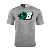 Performance Grey Heather Contender Tee-Bearcat Head w/ B