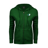 ENZA Ladies Dark Green Fleece Full Zip Hoodie-Bearcat Head w/ B