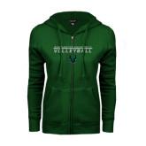 ENZA Ladies Dark Green Fleece Full Zip Hoodie-Volleyball Stacked Design