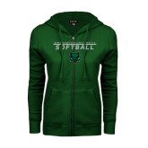 ENZA Ladies Dark Green Fleece Full Zip Hoodie-Softball Stacked Design