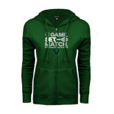 ENZA Ladies Dark Green Fleece Full Zip Hoodie-Game Set Match Tennis Design