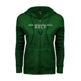ENZA Ladies Dark Green Fleece Full Zip Hoodie-Golf Stacked Design