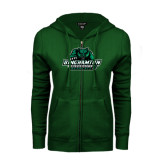 ENZA Ladies Dark Green Fleece Full Zip Hoodie-Binghamton University Bearcats Official Logo