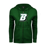 ENZA Ladies Dark Green Fleece Full Zip Hoodie-B
