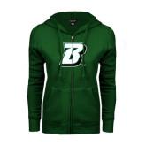 ENZA Ladies Dark Green Fleece Full Zip Hoodie-B