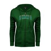 ENZA Ladies Dark Green Fleece Full Zip Hoodie-Arched Binghamton University Bearcats