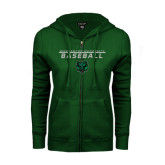 ENZA Ladies Dark Green Fleece Full Zip Hoodie-Baseball Stacked Design