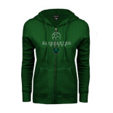 ENZA Ladies Dark Green Fleece Full Zip Hoodie-Soccer Ball Design