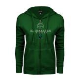 ENZA Ladies Dark Green Fleece Full Zip Hoodie-Soccer Ball Design