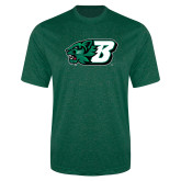 Performance Dark Green Heather Contender Tee-Bearcat Head w/ B