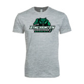 Next Level SoftStyle Heather Grey T Shirt-Binghamton University Bearcats Official Logo