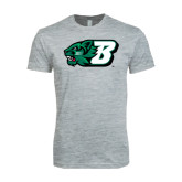 Next Level SoftStyle Heather Grey T Shirt-Bearcat Head w/ B