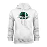 White Fleece Hoodie-Binghamton University Bearcats Official Logo