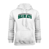 White Fleece Hoodie-Arched Binghamton University Bearcats