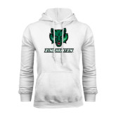 White Fleece Hoodie-Bearcat Head w/ Binghamton