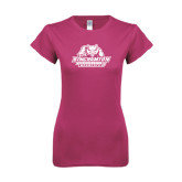 Ladies SoftStyle Junior Fitted Fuchsia Tee-Binghamton University Bearcats Official Logo