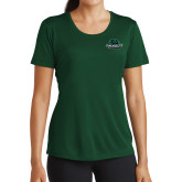 Ladies Performance Dark Green Tee-Binghamton University Bearcats Official Logo