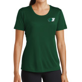 Ladies Performance Dark Green Tee-Bearcat Head w/ B