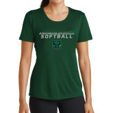 Ladies Performance Dark Green Tee-Softball Stacked Design
