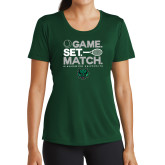 Ladies Performance Dark Green Tee-Game Set Match Tennis Design