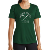 Ladies Performance Dark Green Tee-Lacrosse Crossed Sticks Design