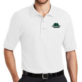 White Easycare Pique Polo-Binghamton University Bearcats Official Logo