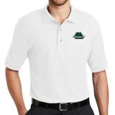 White Easycare Pique Polo-Binghamton University Bearcats Official Logo